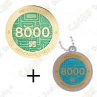 "Geocoin + Travel Tag ""Milestone"" - 8000 Finds"