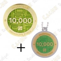 "Geocoin + Travel Tag ""Milestone"" - 10 000 Finds"