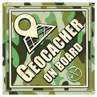 "Sticker voiture ""Geocacher on board"" camouflage"