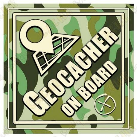 """Sticker voiture """"Geocacher on board"""" camouflage"""